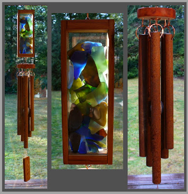wind chime, windchime, beach glass, stained glass, rusty chimes