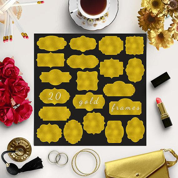 Buy5for8 Gold Frames Clipart Gold Tags Shiny Diy Borders Wedding