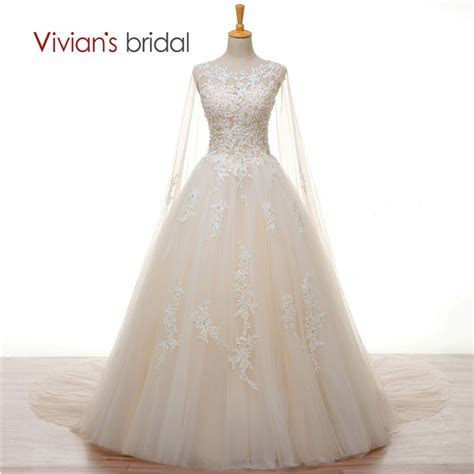 Vivian's Bridal Crystal Pearl White Lace Champagne Wedding