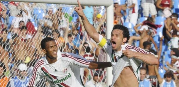 Maicon e Fred comemoram gol do Fluminense contra o Palmeiras