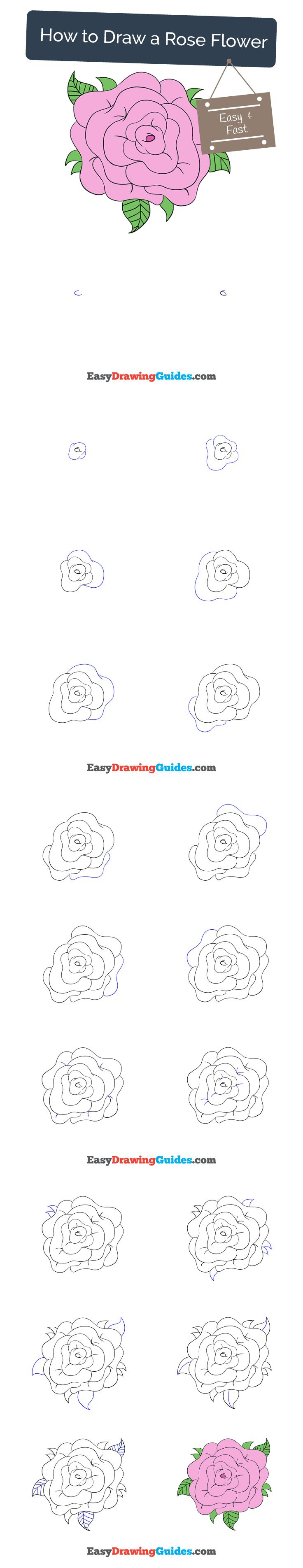 How To Draw A Rose Easy For Kids Step By Step