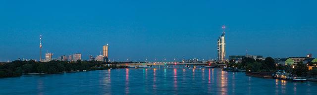 Panorama of Danube in Vienna