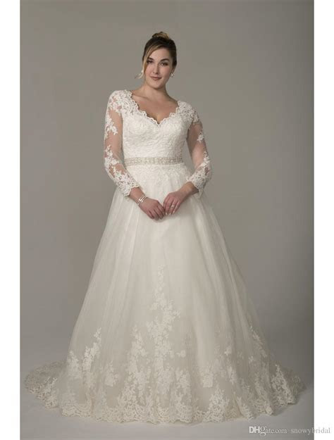 Discount 2017 Plus Size A Line Modest Wedding Dresses With