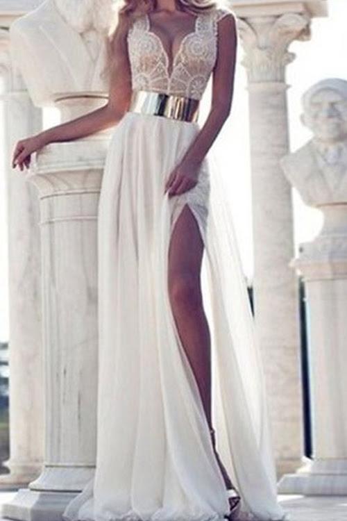 الشيفون اغراق الرقبة أكمام الأبيض فستان ماكسي