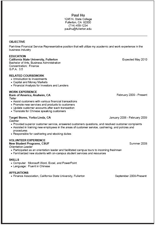 Part Time Resume Sample Projects To Try Job Resume