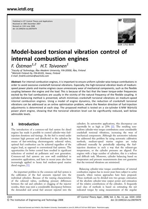 (PDF) Model-based torsional vibration control of internal