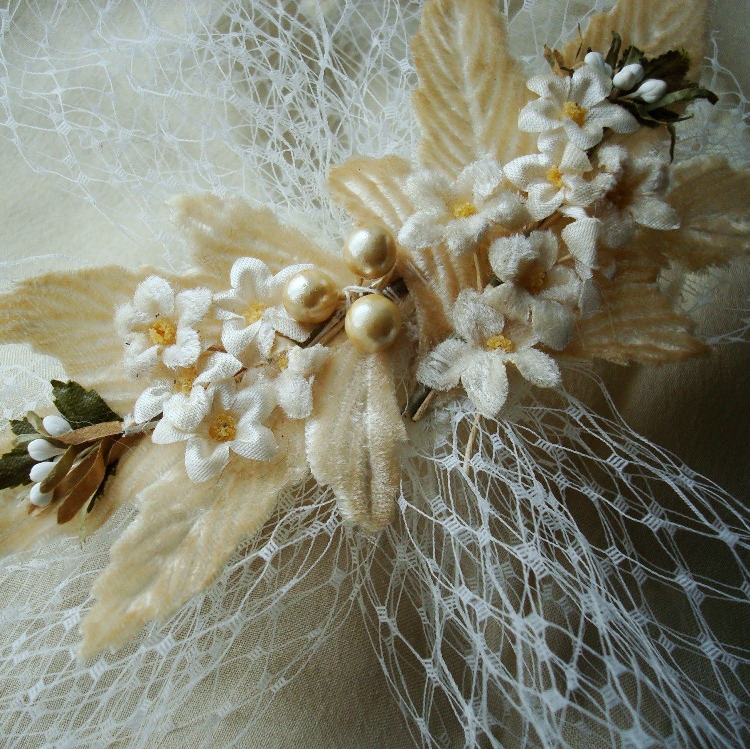 Bridal Hair Ornament with Vintage Millinery Leaves and French Netting