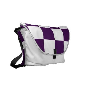 Checkered Purple and White Courier Bag
