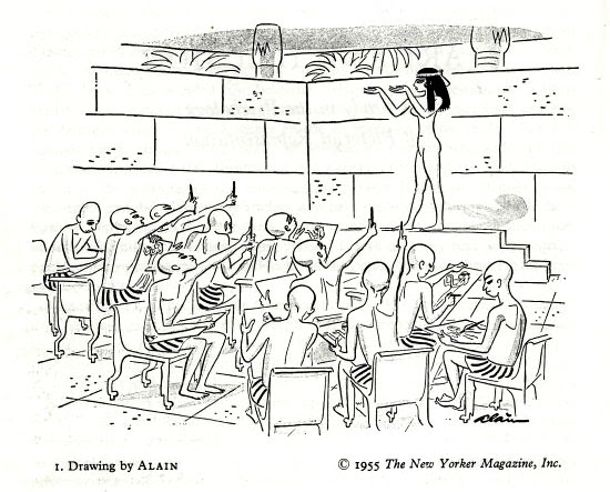 Drawing lesson in Egypt, by Alain, in Ernst Gombrich's Art and illusion (1960)