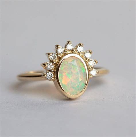 Australian Opal Ring Rose Gold, Diamond Opal Ring, Oval