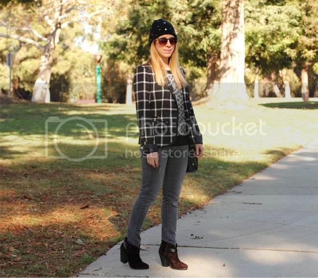 LA fashion blogger The Key To Chic wears a plaid Merona blazer and key print sweater with skinny jeans and Rag & Bone Harrow boots