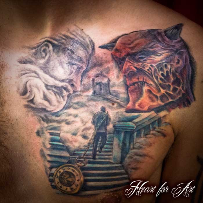 Heaven And Hell Religious Chest Tattoo Heart For Art Tattoo Shop