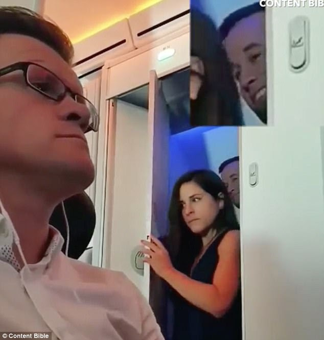 The Virgin Atlantic passenger, pictured left, filmed the couple, pictured right, as they exited separately from the cabin toilet. The man can be seen grinning ear to ear, having clearly enjoyed whatever went on inside