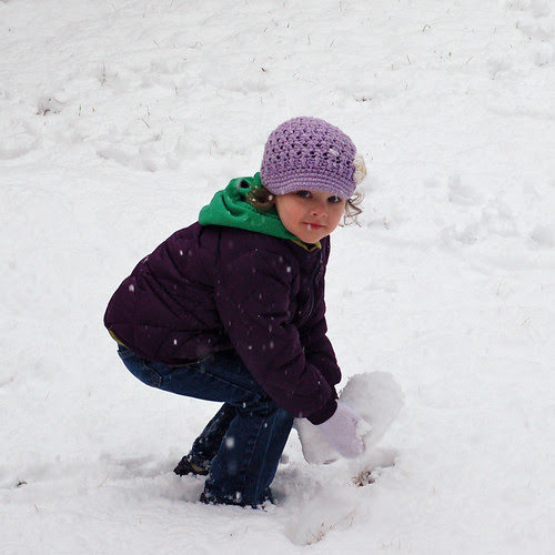 Grace plays in the snow
