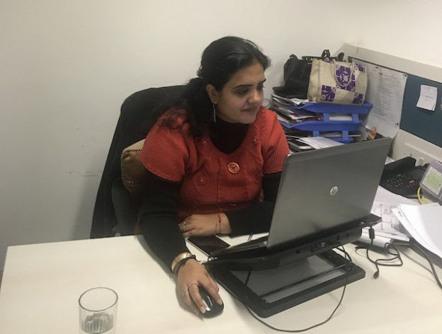 A woman at her desk in an IT office in New Delhi. During the last decade, 69 percent Indian women moved out of their place of residence after marriage - either to shift to their husband's place or to move elsewhere with them. Comparatively, only 2.3 percent of women relocated for work or employment and 1 percent for education. Credit: Neeta Lal/IPS