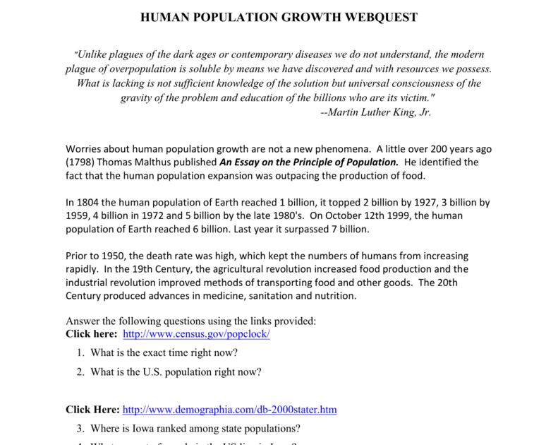 Human Population Growth Worksheet - Worksheet List