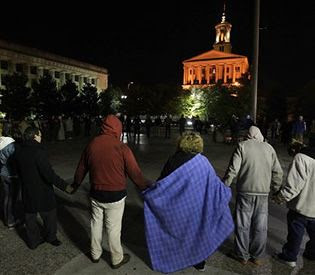 Activists from Occupy Nashville near the capital of Tennessee defying curfew aimed at clearing out their protest demonstrations. City authorities have attacked demonstrations throughout the country. by Pan-African News Wire File Photos