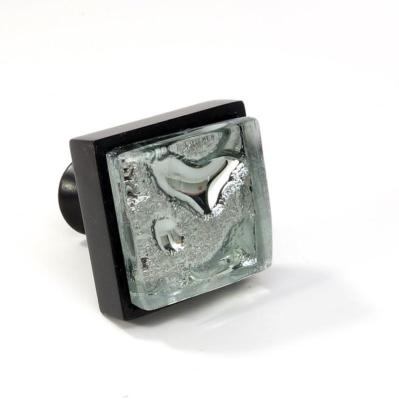 Crystal Glass Black Metal Square Knob Modern Cabinet ...