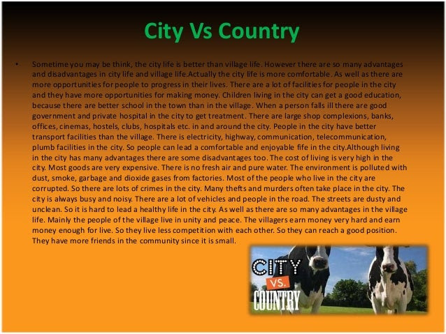 write an essay on living in the country