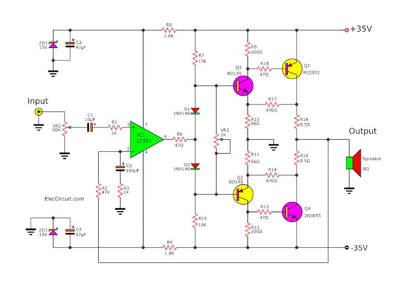 2n3055 Mj2955 Amplifier Circuit - Circuit Diagram Images