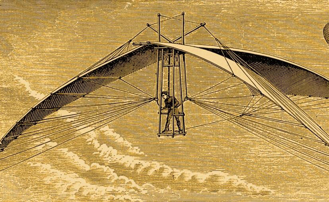 Ornithopter The earliest concept of the ornithopter was developed by Leonardo da Vinci in the 15th century.  The great master was inspired by the flight of birds, bats and insects: his model was able to stay in the air for up to three minutes.  In 1894, Otto Lilienthal, the German aviation pioneer, carried out the first manned flight on the ornithopter.