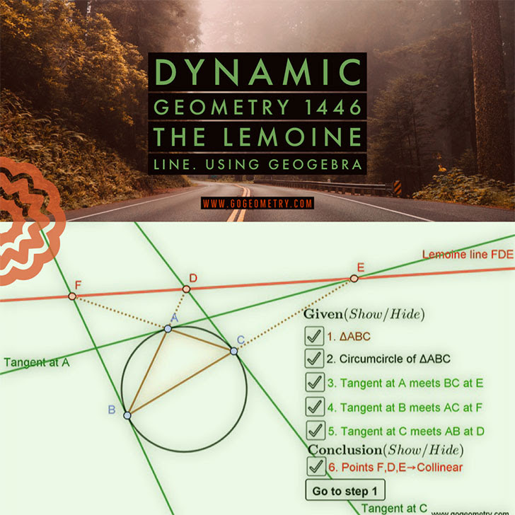Dynamic Geometry Problem 1446: The Lemoine Line. Using GeoGebra.