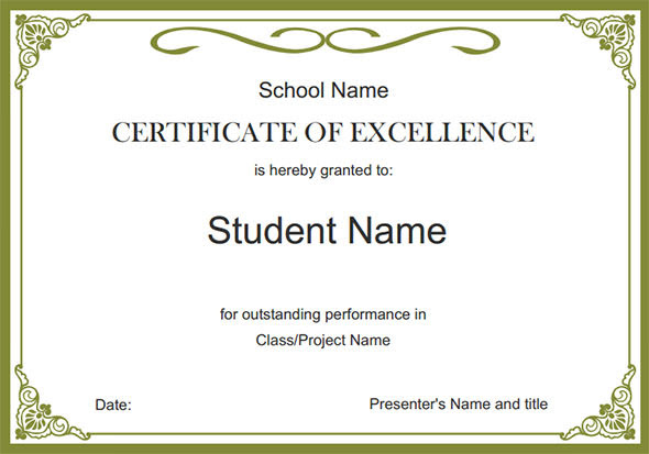 Free Certificate Templates school