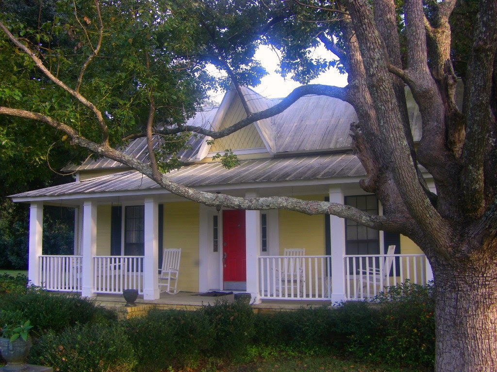 yellow house with red door and black shutters image search results