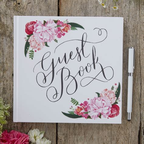 boho floral design wedding guest book by ginger ray
