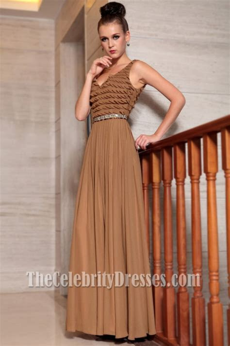 Floor Length Brown Chiffon Prom Gown Evening Formal
