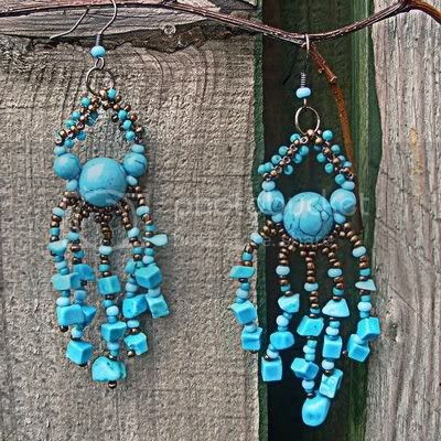 Turquoise chandelier earrings beaded woven