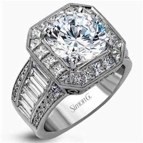 Simon G 18K Large Center Halo Diamond Engagement Ring