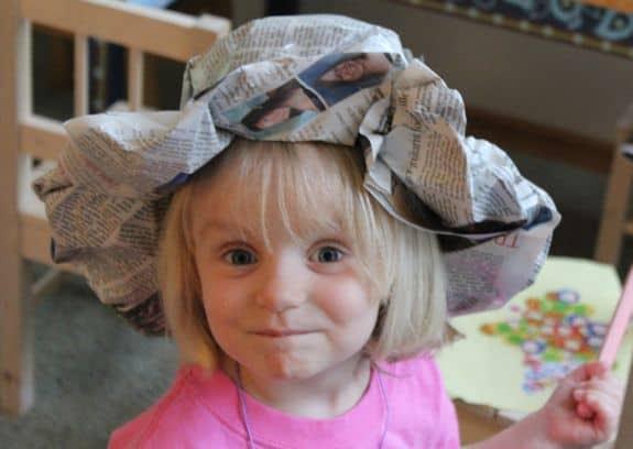 newspaper hat kids