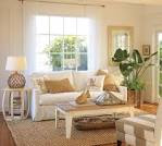 Bright Coastal Style Living Room with Blue Accent and Rustic ...