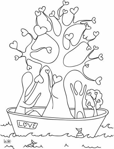 Dibujo De Un Arbol Con Corazones Para Colorear Dibujos Para