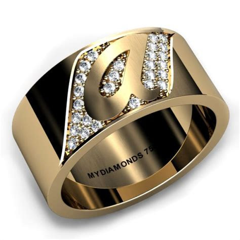 Torino Yellow Gold Gents Diamond Ring   Add Your Initial