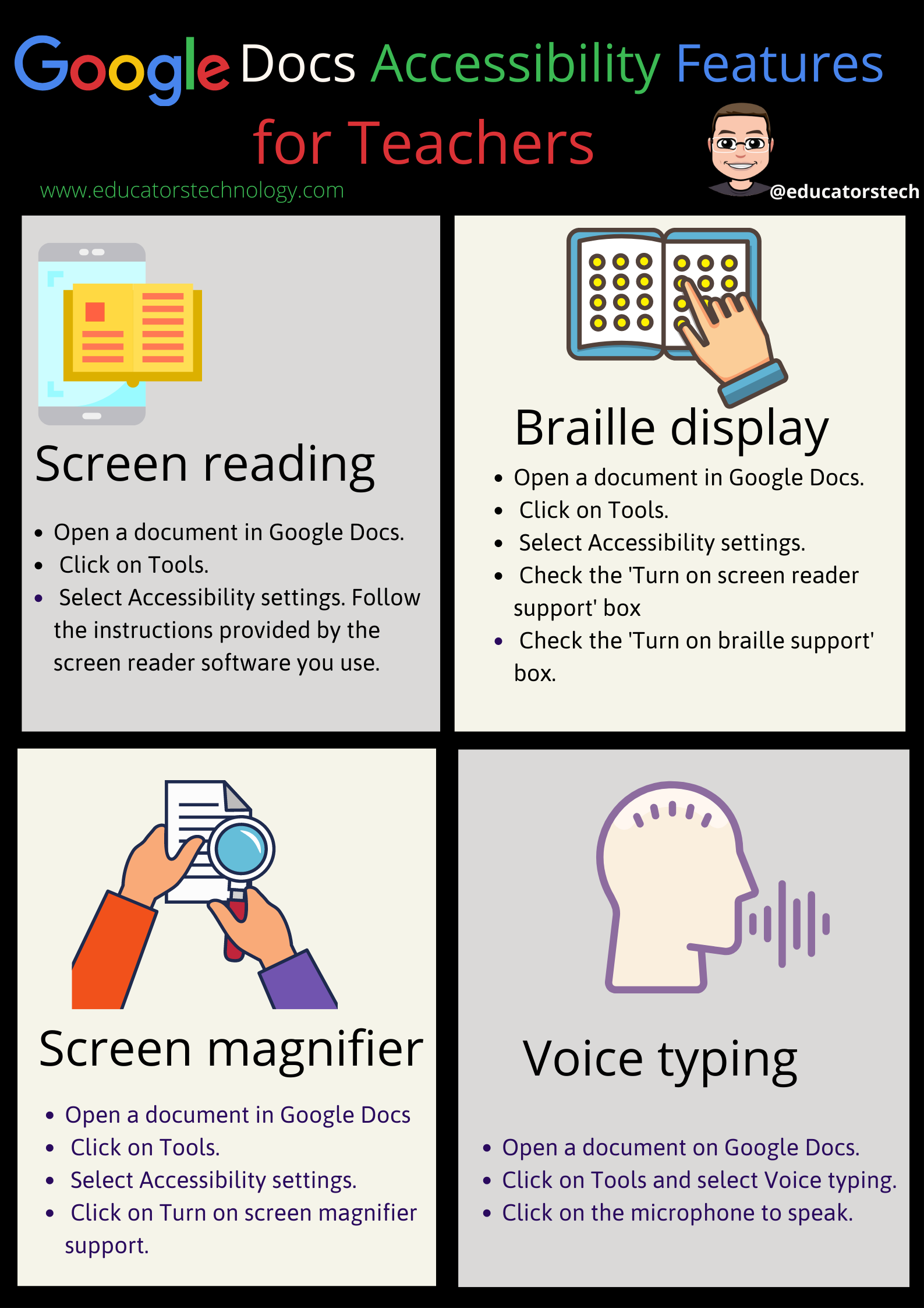 Google Docs editor embeds a number of important accessibility features that you can use wi 4 Google Docs Accessibility Features Teachers Should Know about