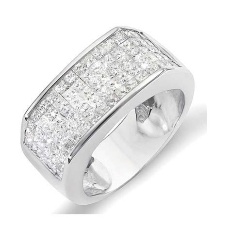 2.00 Carat (ctw) 14k White Gold Princess Diamond Invisible