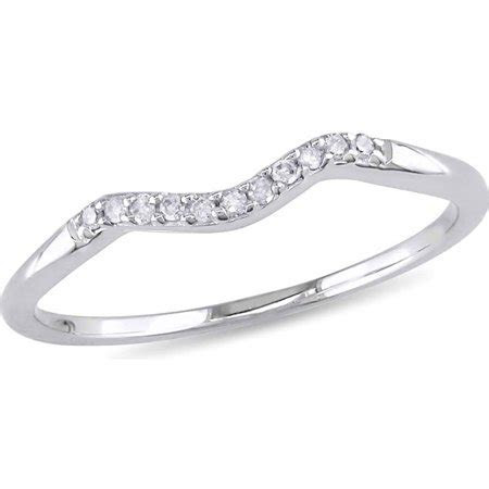 Miabella   Diamond Accent 10kt White Gold Curved Wedding