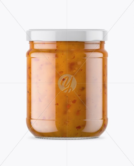 Download Download Clear Glass Jar With Sweet Sour Sauce Mockup ...
