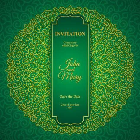 Orante green wedding invitation cards design vector 05