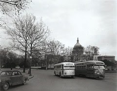 Bus and streetcar by the U.S. Capitol