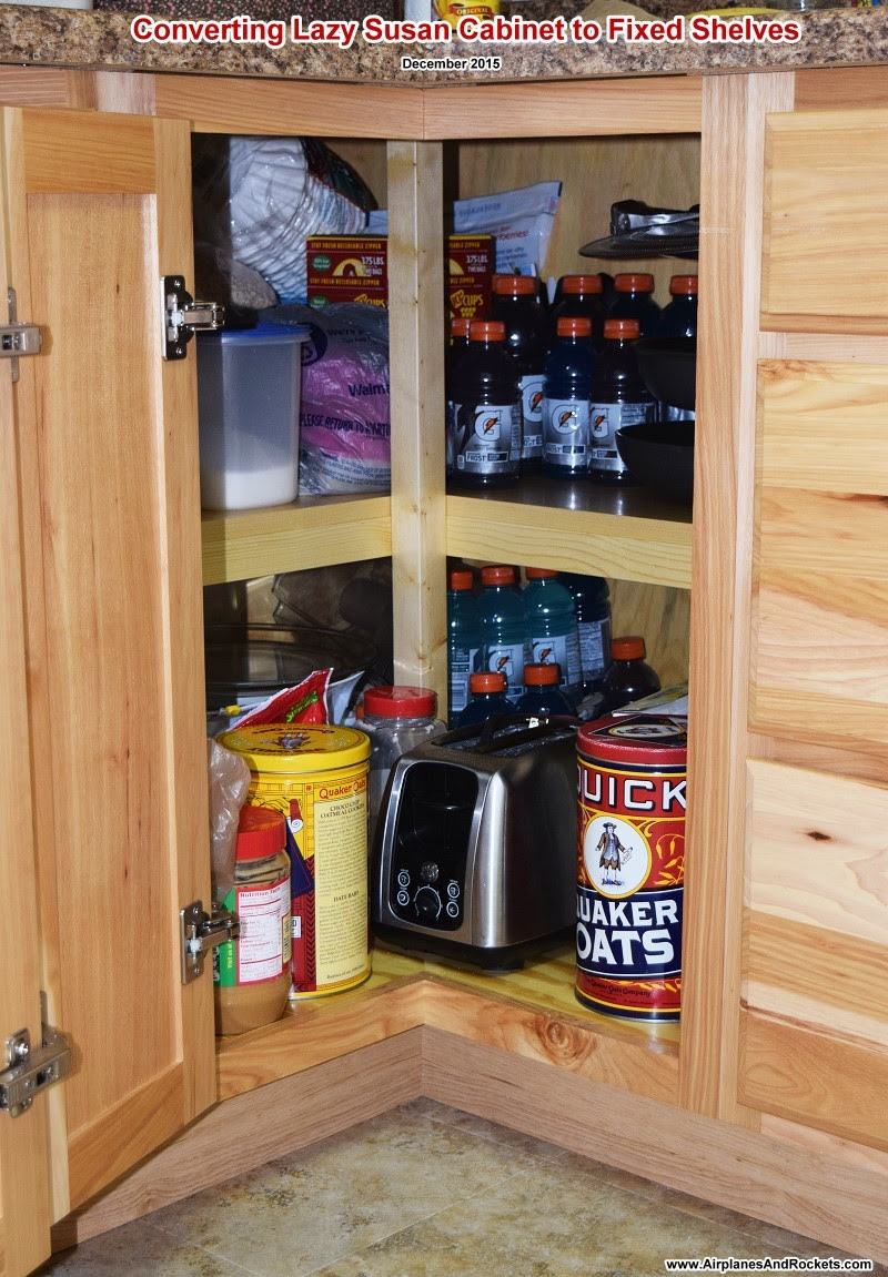 Lazy Susan Cabinet Converted to Shelves - Airplanes and ...