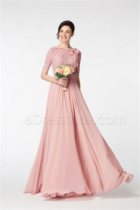 Modest Lace Blush Bridesmaid Dresses with Sleeves Bow