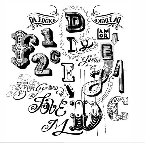 Writings on the Wall, illustration, art, black and white, type, calligraphy, typography,
