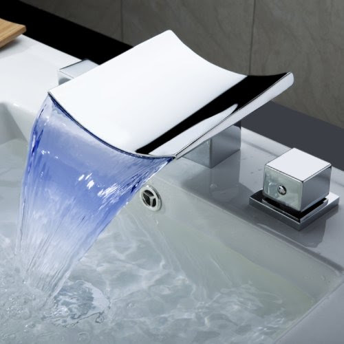 Lightinthebox Color Changing Led Waterfall Widespread Bathroom Sink