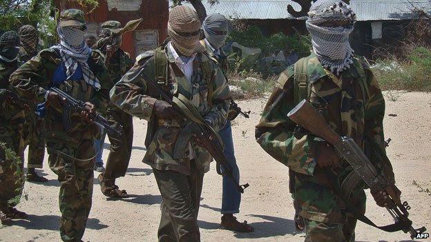 Al-Shabab fighters in  Mogadishu, Somalia (5 March 2012)