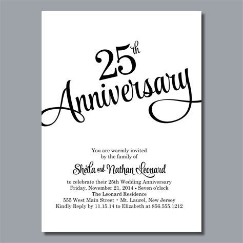 25 Anniversary invitation : 25 anniversary invitation