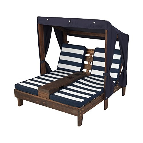 Kidkraft outdoor double chaise lounge espresso navy white for Big lots chaise lounge