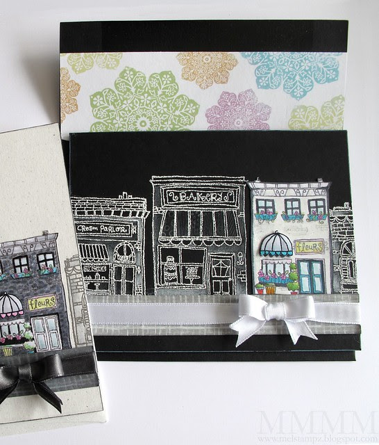 black POD hometown card & envelope mel stampz